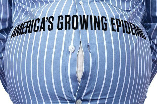 "Mans stomach that says ""America's growing epidemic"" obesity"