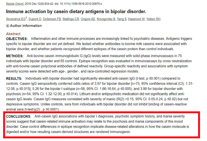 immune activation by casein dietary antigens in bipolar disorder